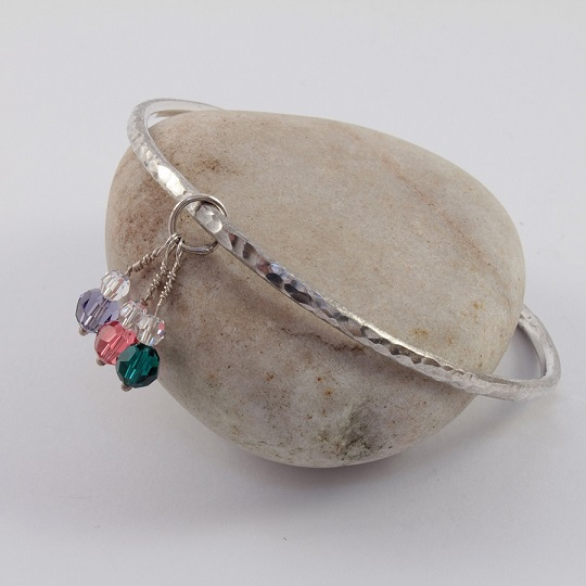 Hammered Bangle With Swarovski Crystals