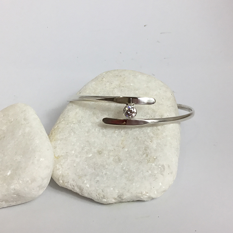 Sterling Silver Crossover Bangle Set With Swarovski Zirconia