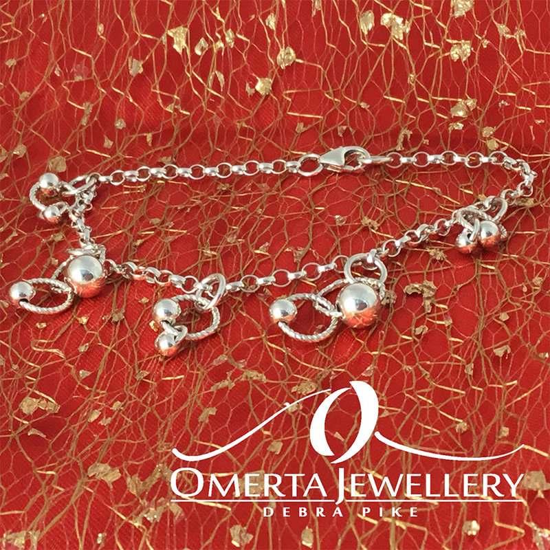 Sterling Silver Chain Bracelet With Orbital Charms