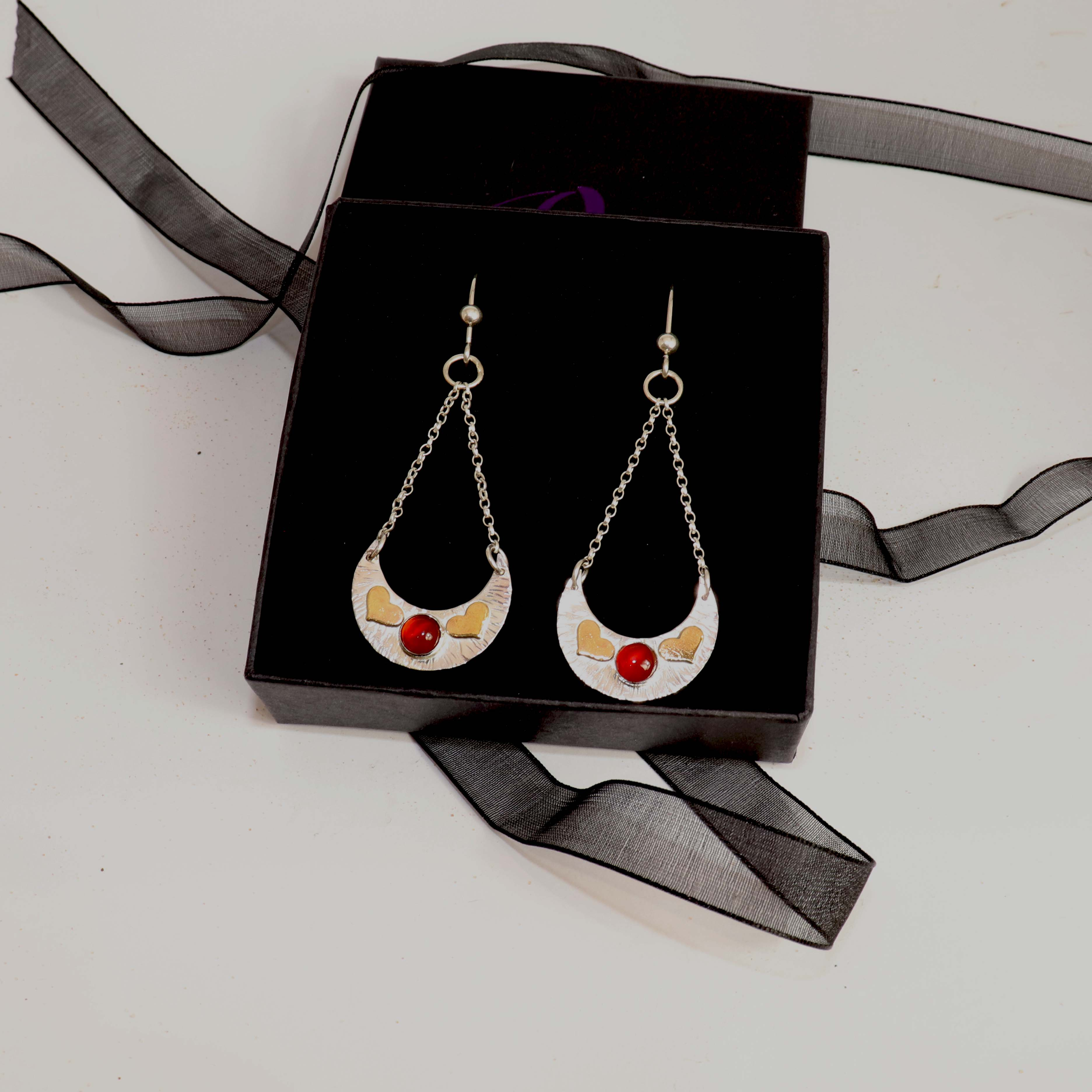 ARABIAN SUNSET - Crescent Chain Drop Earrings