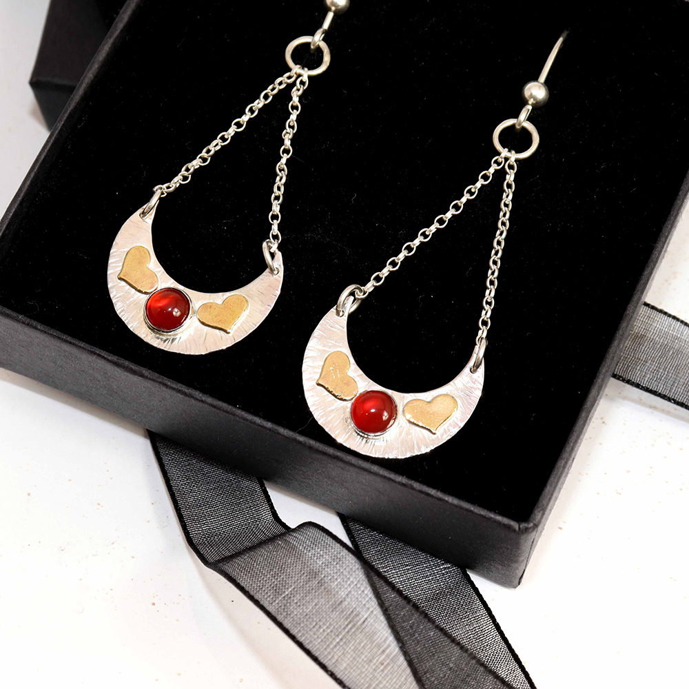 Crescent Chain Drop Earrings