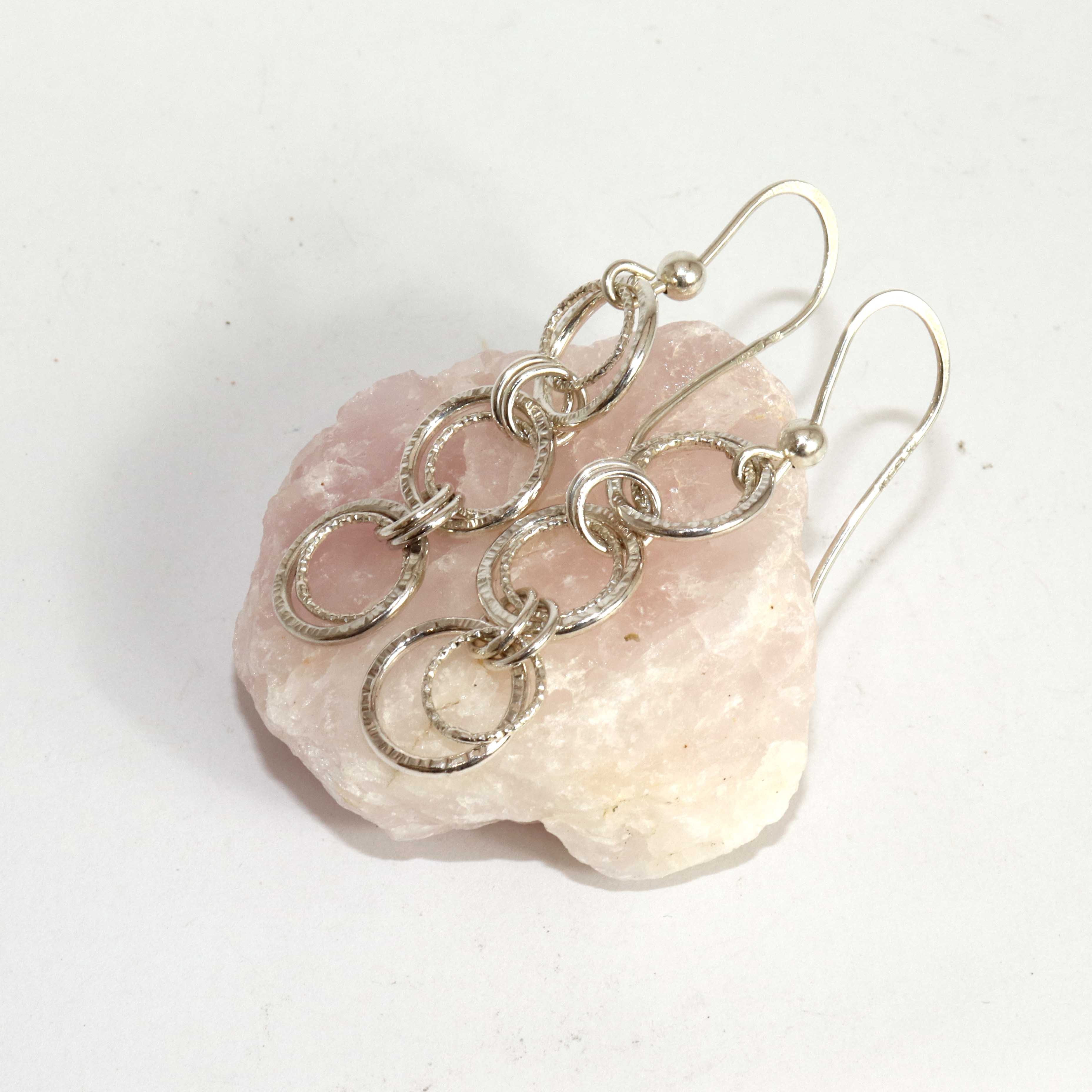 Textured Handmade Double Link Chain Drop Earrings