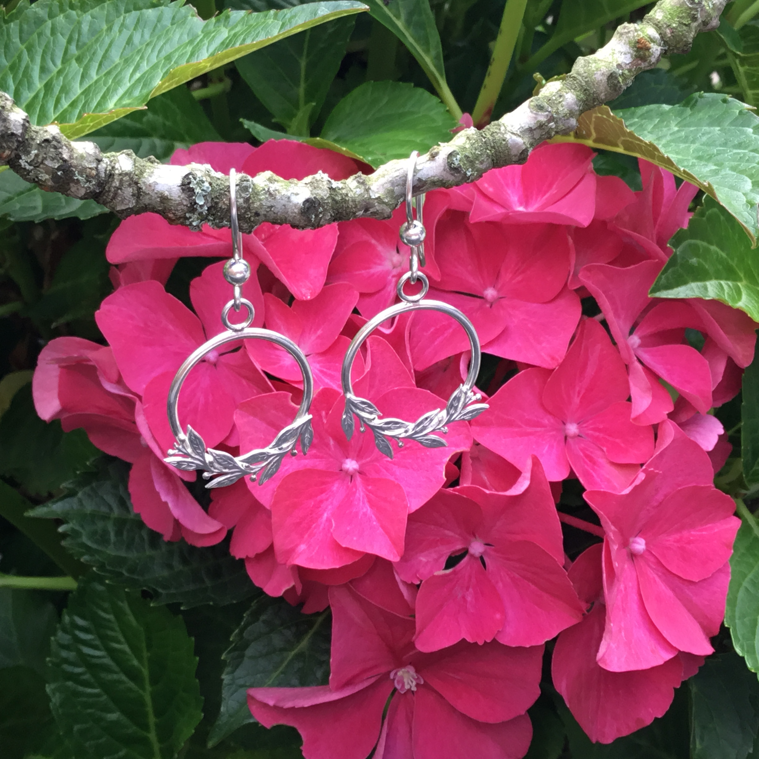 Front Hoop Earrings With Leaf & Berry Design
