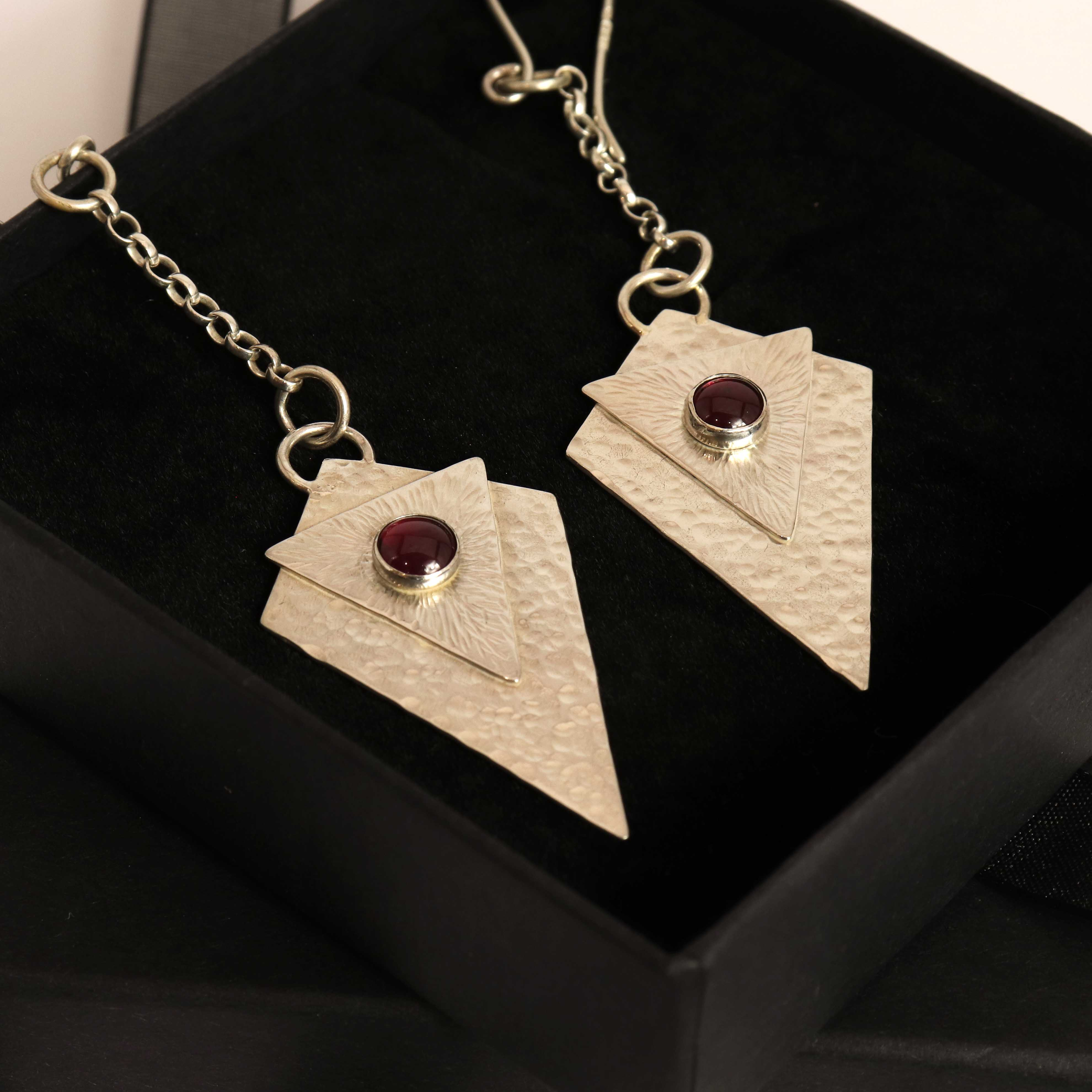 Art Deco Style Chain Drop Earrings With Garnet Cabochons