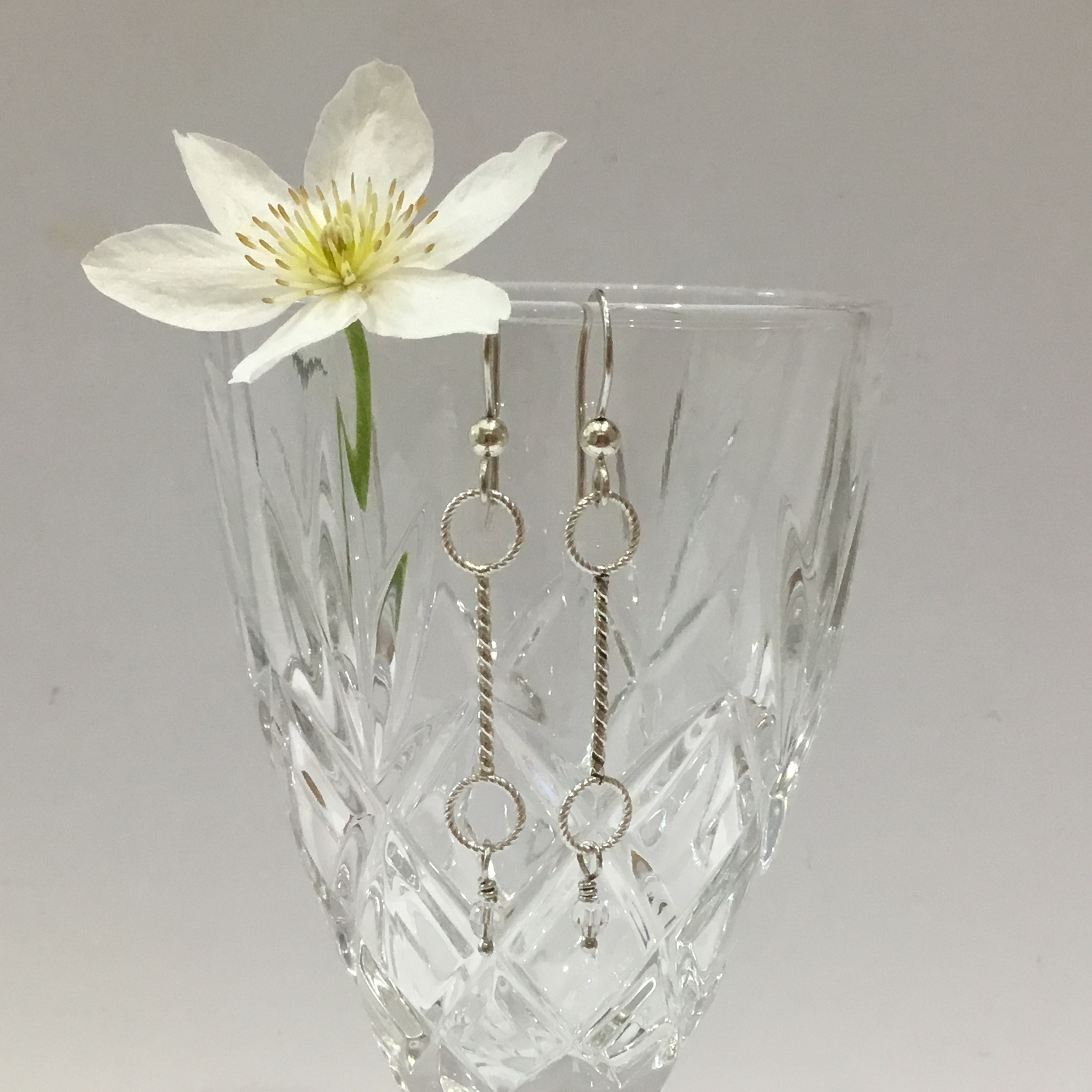 Sterling Silver Twisted Wire & Hoop Earrings With Swarovski Crystals