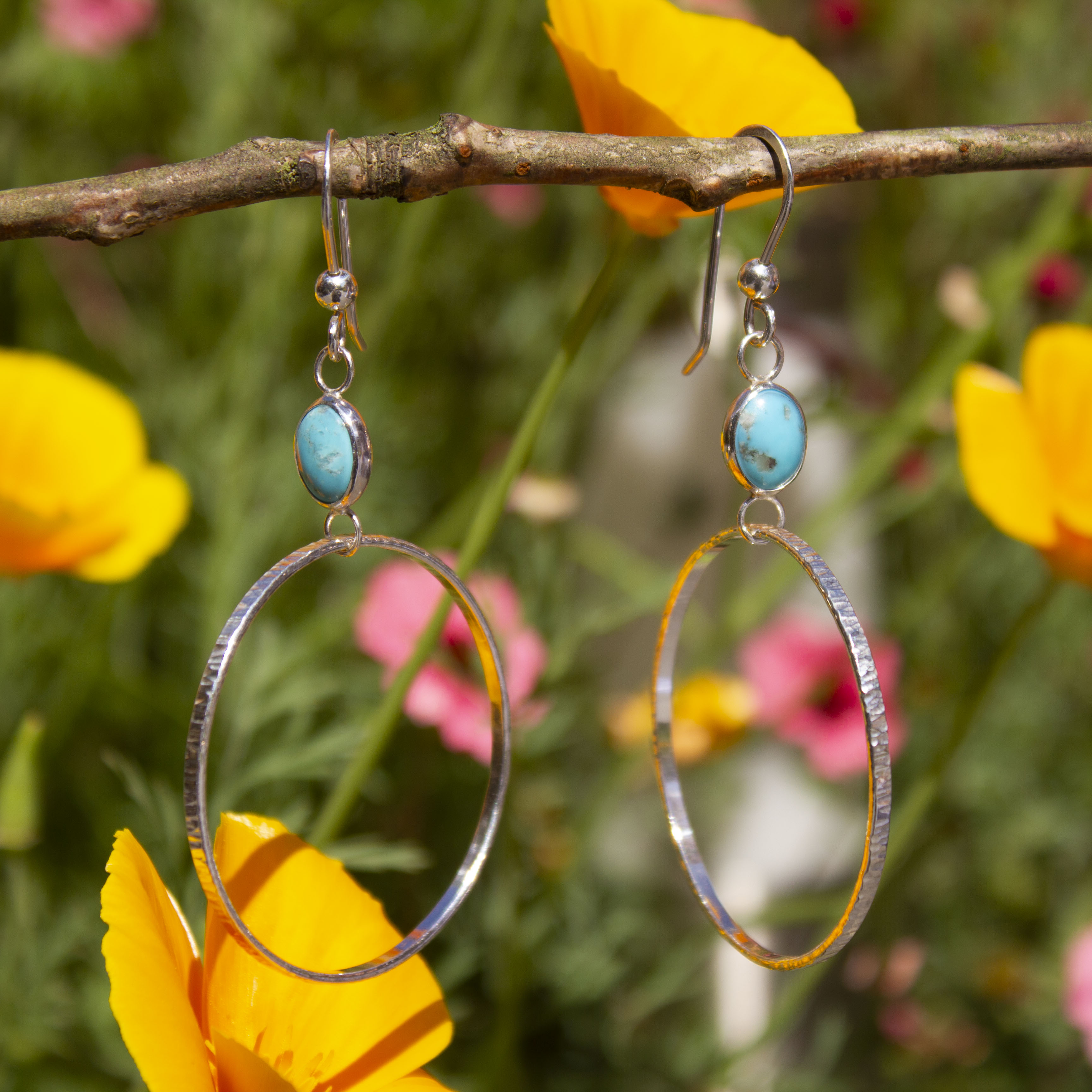 Large Hoop Earrings In Sterling Silver & Turquoise