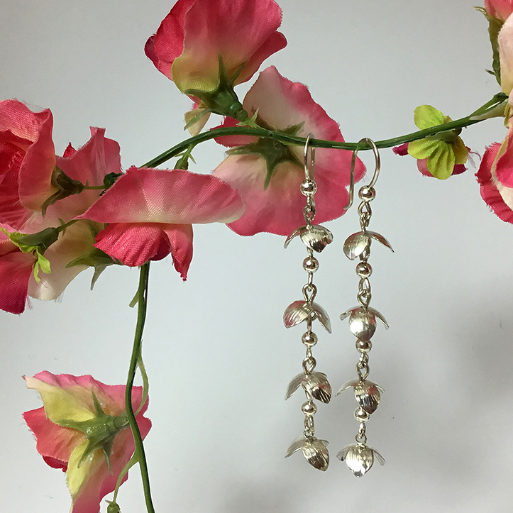 Long Handmade Linked Flower Earrings