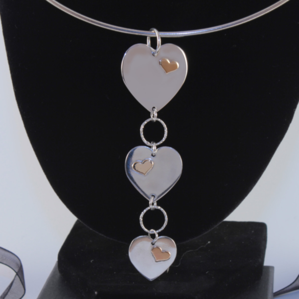 Triple Cascading Hearts Necklace