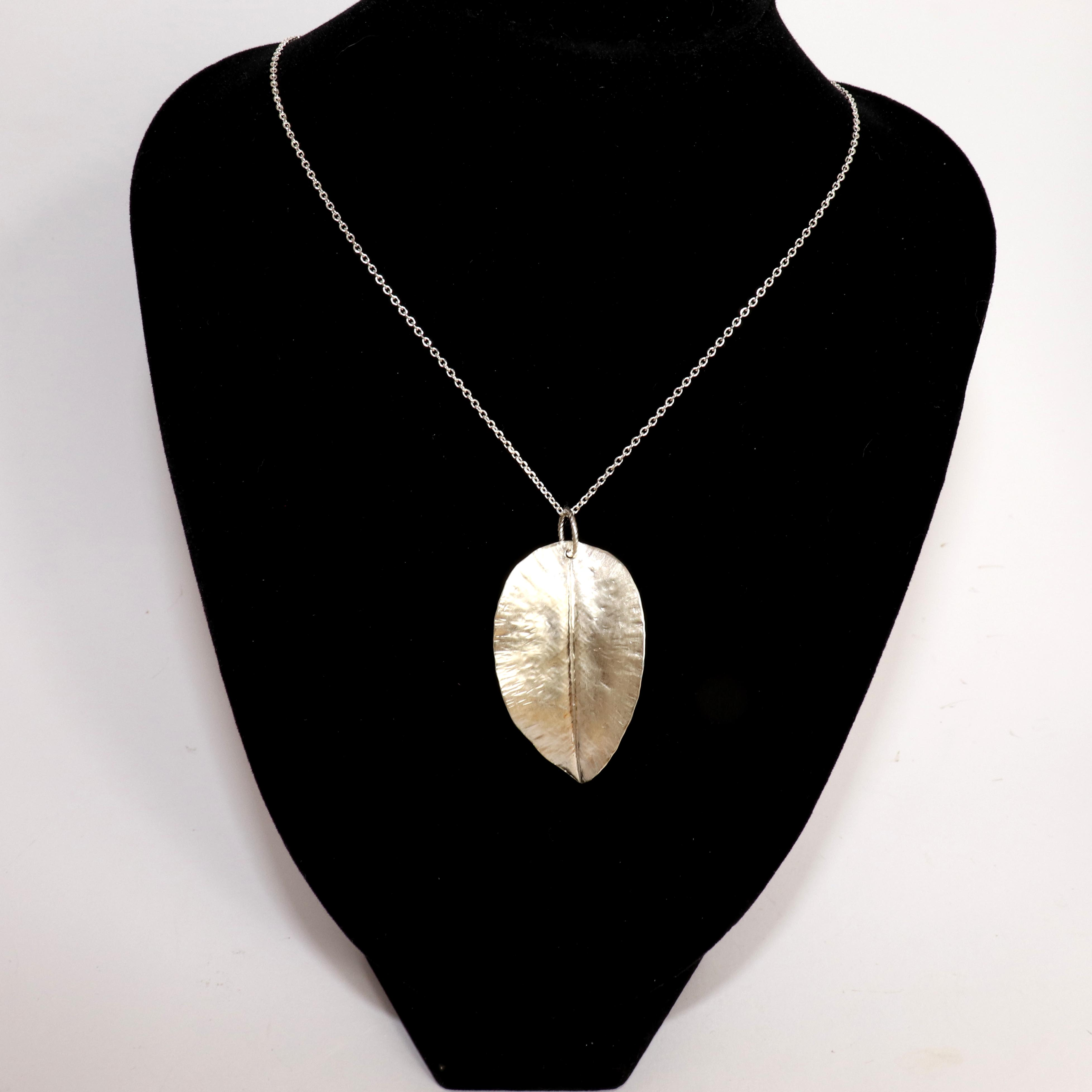 Satin Finish Fine Silver Textured Leaf Pendant Necklace