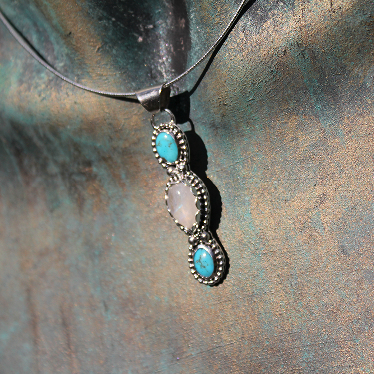 Sterling Silver Turquoise & Moonstone Pendant Necklace
