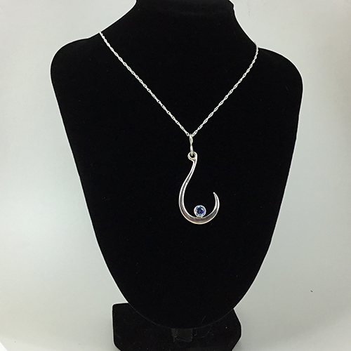 Makau Inspired Sterling Silver Fish Hook Necklace