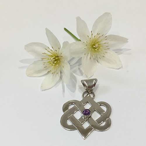Sterling Silver Celtic Love Knot Pendant With Rose Cut Amethyst