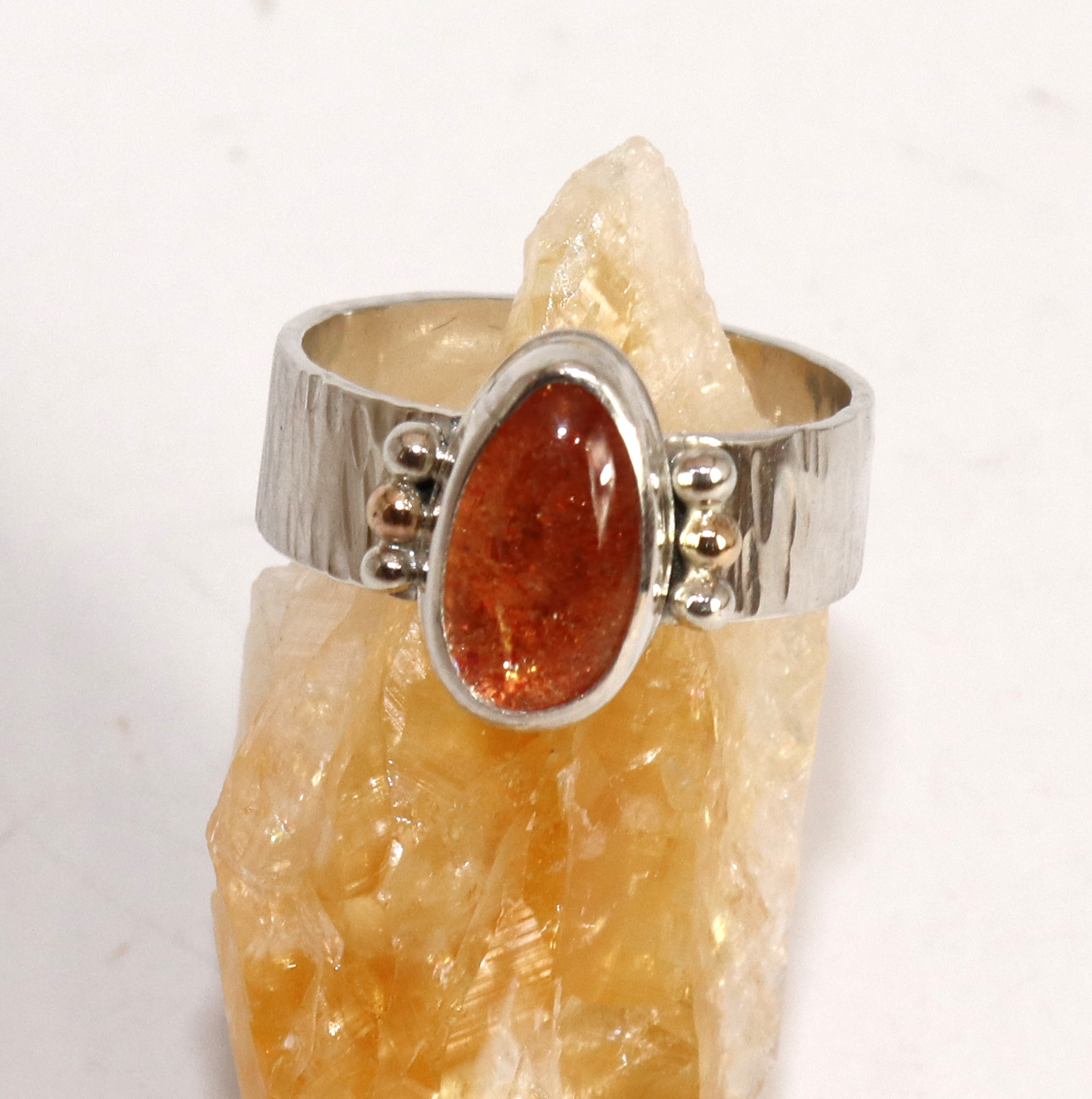 Pear Freeform Masai Confetti Sunstone Ring With Gold Accents