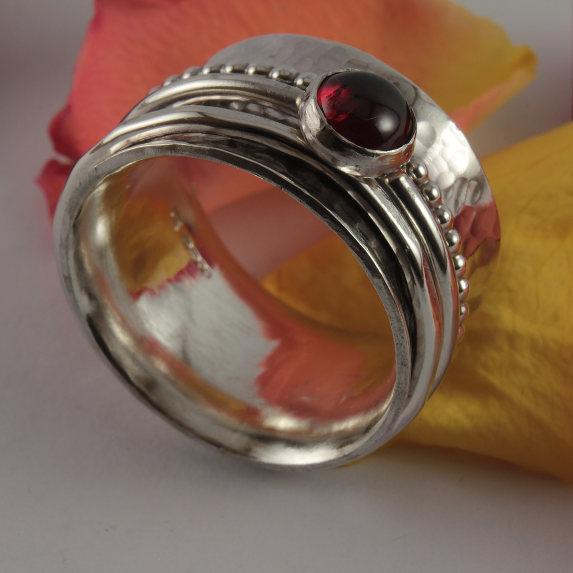 Garnet Cabochon Triple Band Spinner Ring