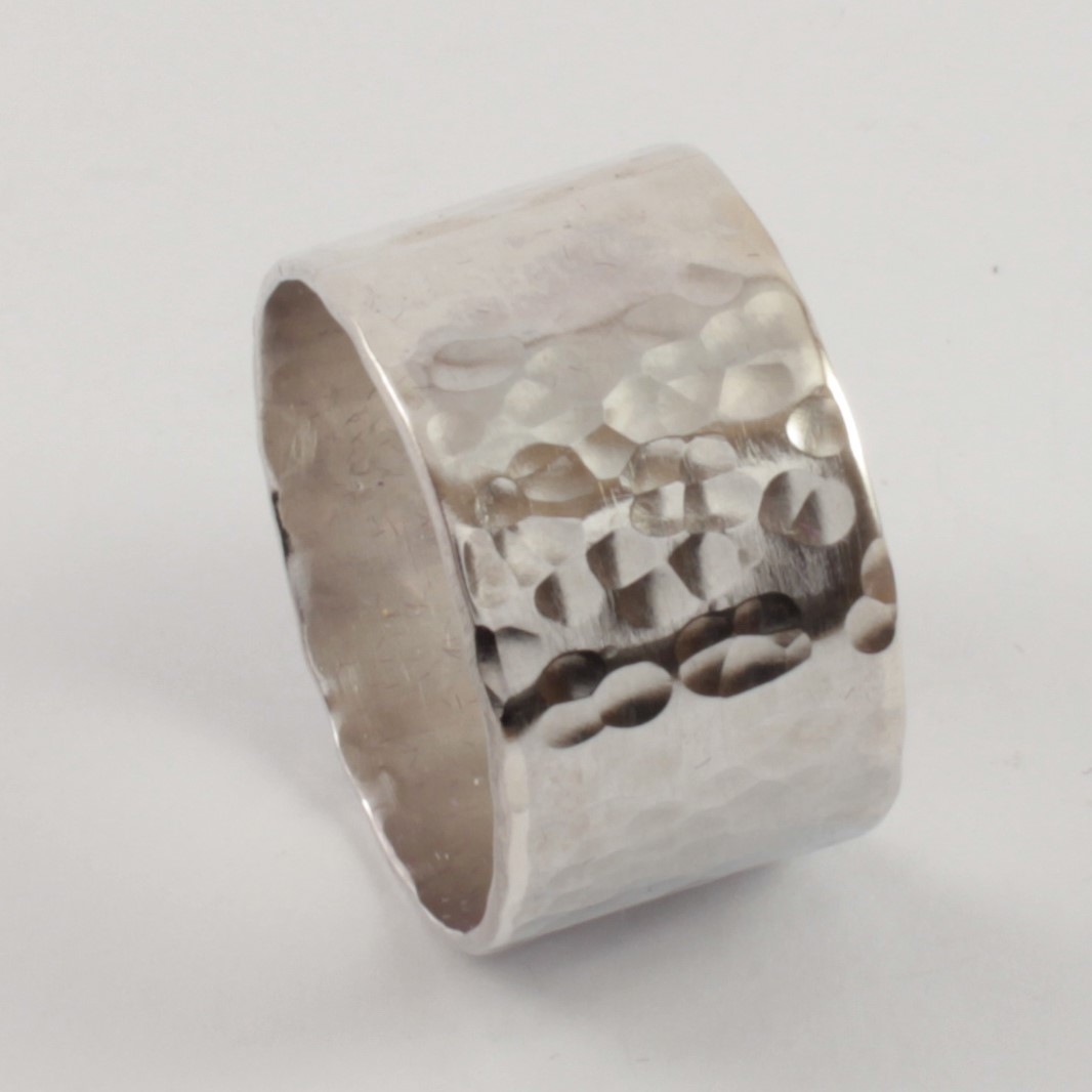 Men's Hammered Wide Band Ring