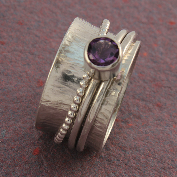 Amethyst Triple Band Spinner Ring