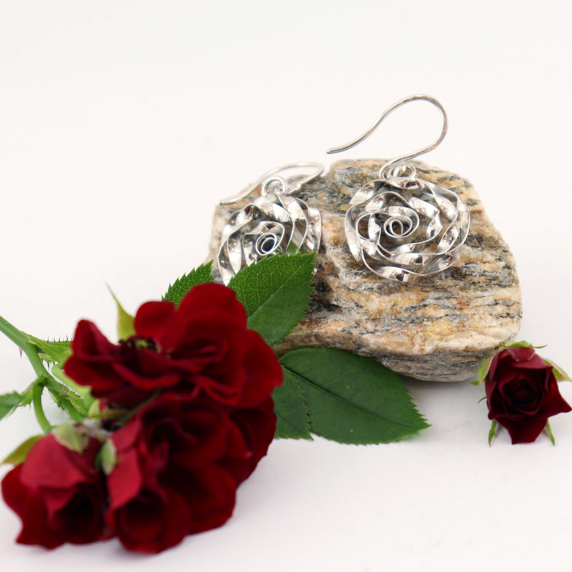 Sterling Silver Rose Design Drop Earrings