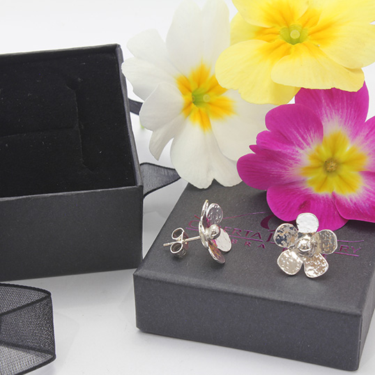 Blossom Stud Earrings With Hammered Texture